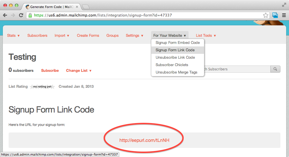 To The Full Url Of Your Subscription Form Which Contains List Manage That Is One You Ll Need Use With Mailchimp Shortcode